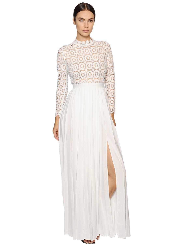 68c9f0b58ff82 Lyst - Self-Portrait Plisse Crepe   Floral Lace Dress in White