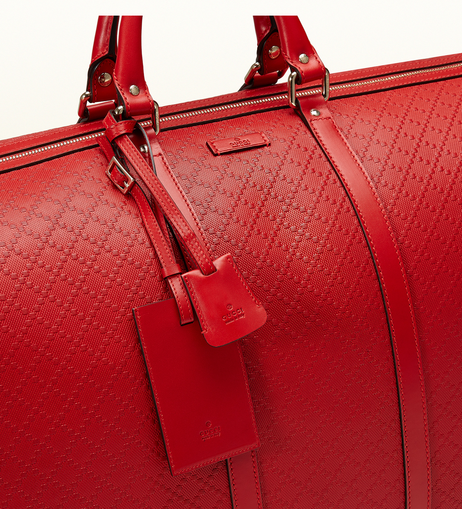 e2009b70de3 Gucci Bright Diamante Leather Carry-on Duffle Bag in Red - Lyst