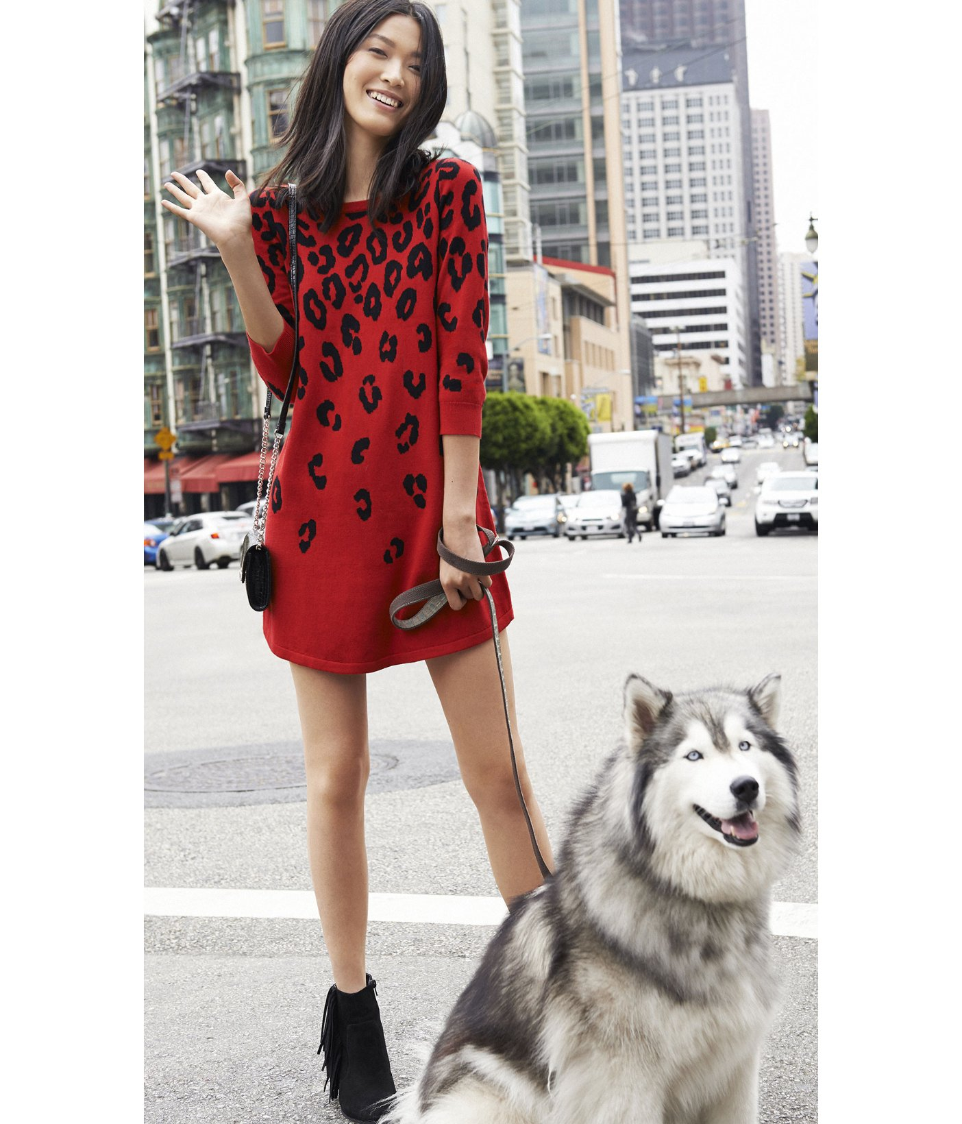 20dd20a0c5 Lyst - Express Red Leopard Print Sweater Dress in Red