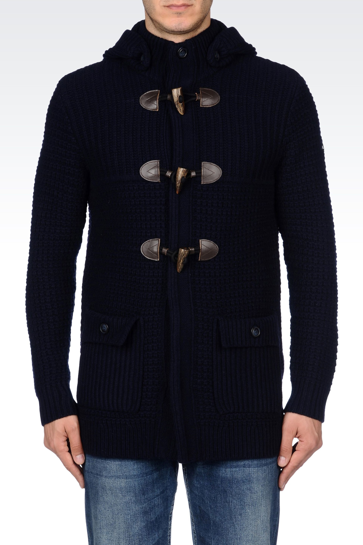 lyst armani jeans knit duffle coat in blue for men. Black Bedroom Furniture Sets. Home Design Ideas