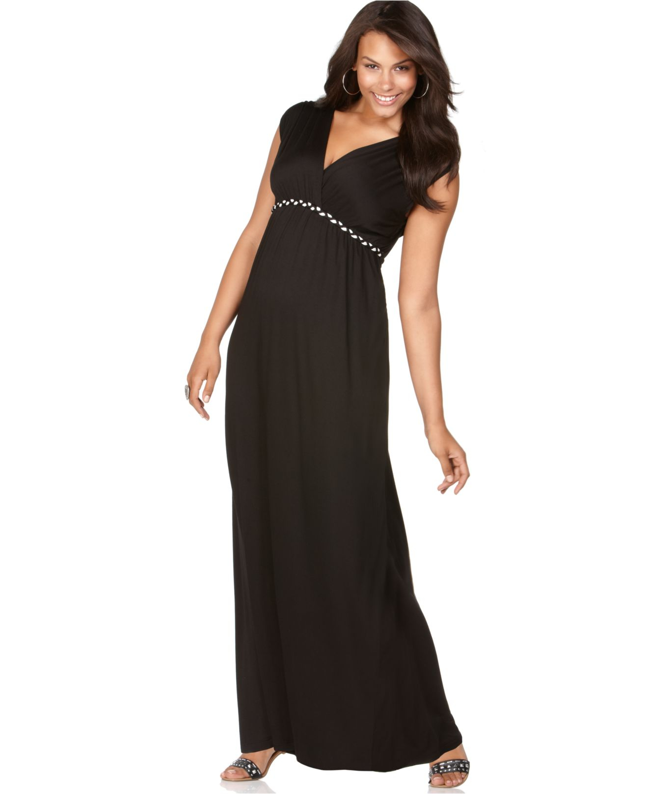 Soprano Plus Size Cap-sleeve Braided Empire Maxi Dress in Black - Lyst