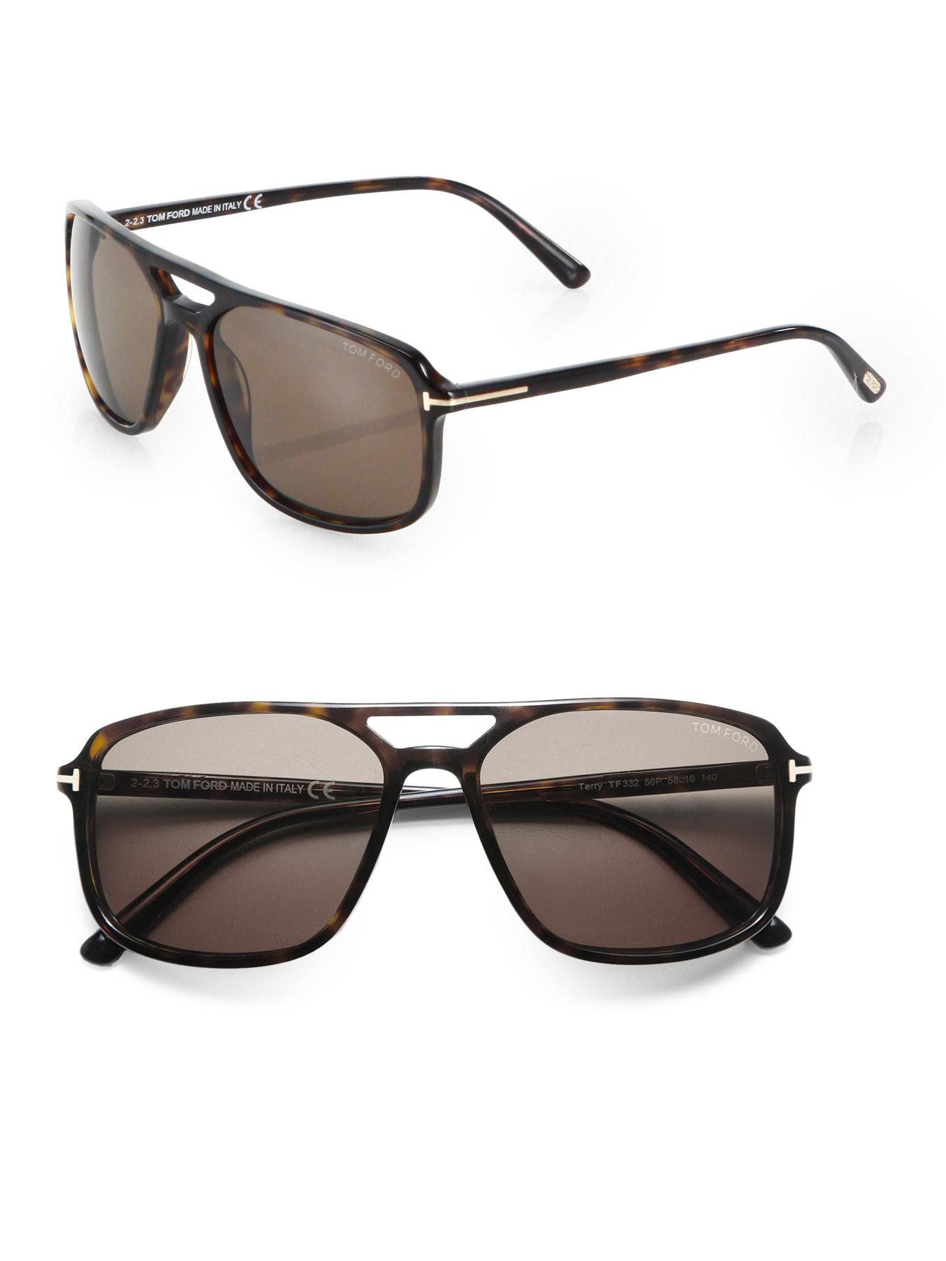 tom ford terry 58mm acetate navigator sunglasses in brown. Black Bedroom Furniture Sets. Home Design Ideas