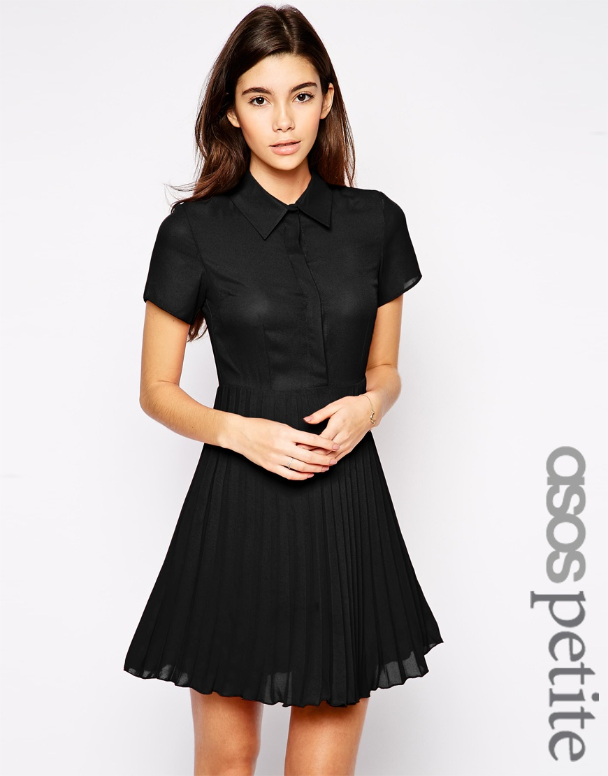Asos petite exclusive shirt dress with pleated skirt in for Black pleated dress shirt