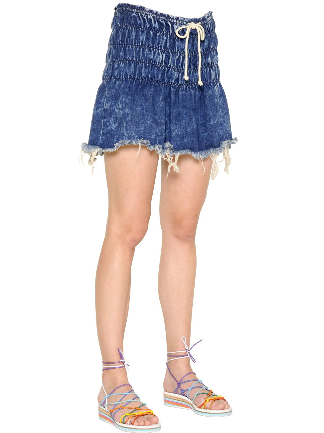 Chloé Frayed Hem Washed Cotton Denim Skirt in Blue | Lyst