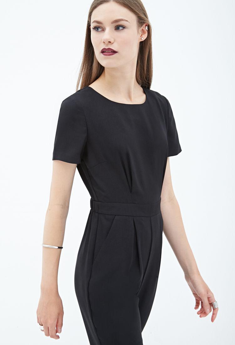 48b218e5af9 Lyst - Forever 21 Short-sleeved Crepe Jumpsuit You ve Been Added To ...