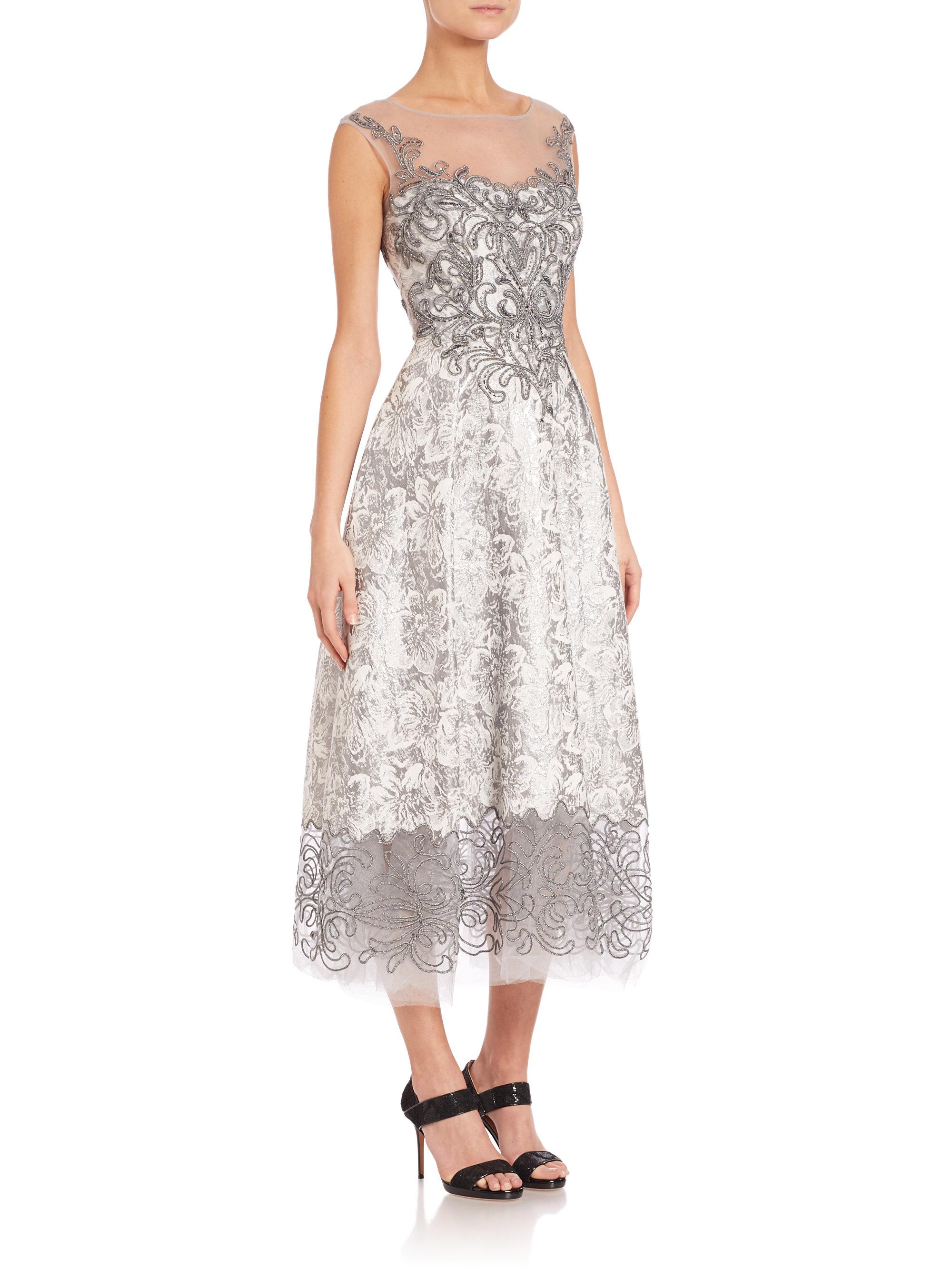 Lyst - Teri Jon Floral Lace Illusion Dress in Metallic 12847c402