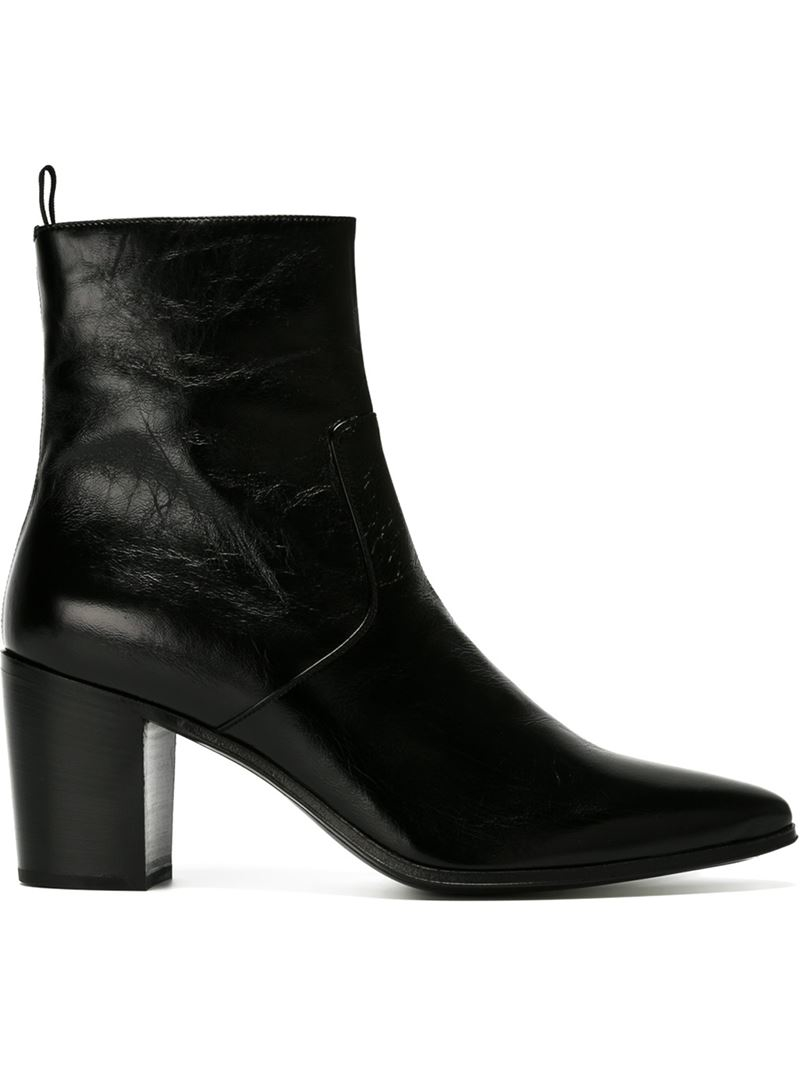 Saint Laurent Chunky Heel Ankle Boots In Black For Men Lyst