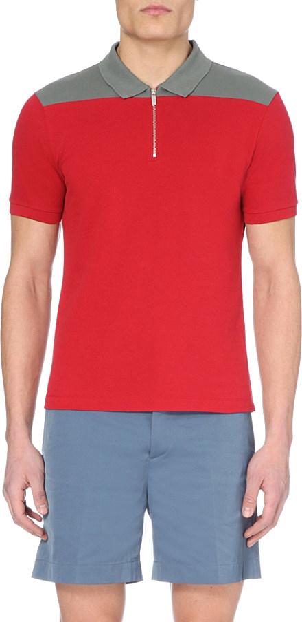 Armani Cotton Detail Emporio Lyst Polo Panel Shoulder In Zip Shirt 1SO5pqU
