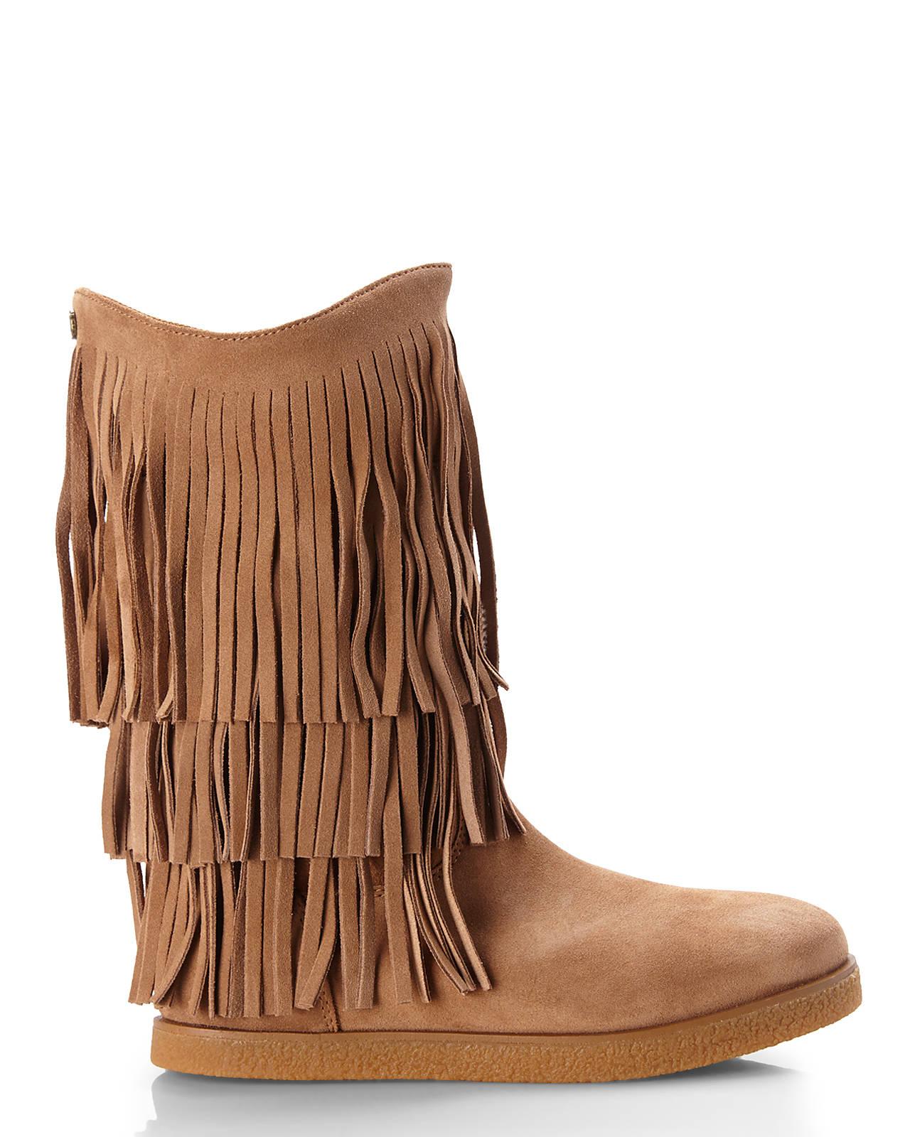 Koolaburra Real Fur Lined Josie Fringe Boots in Brown   Lyst