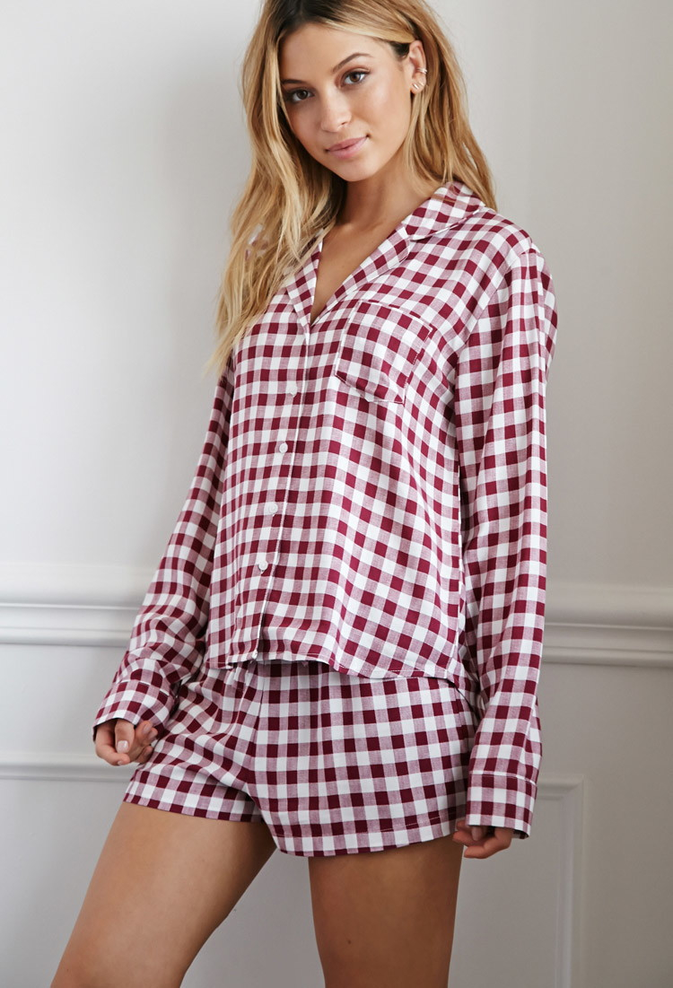 Forever 21 Gingham Plaid Pj Set In Purple  Lyst-7512