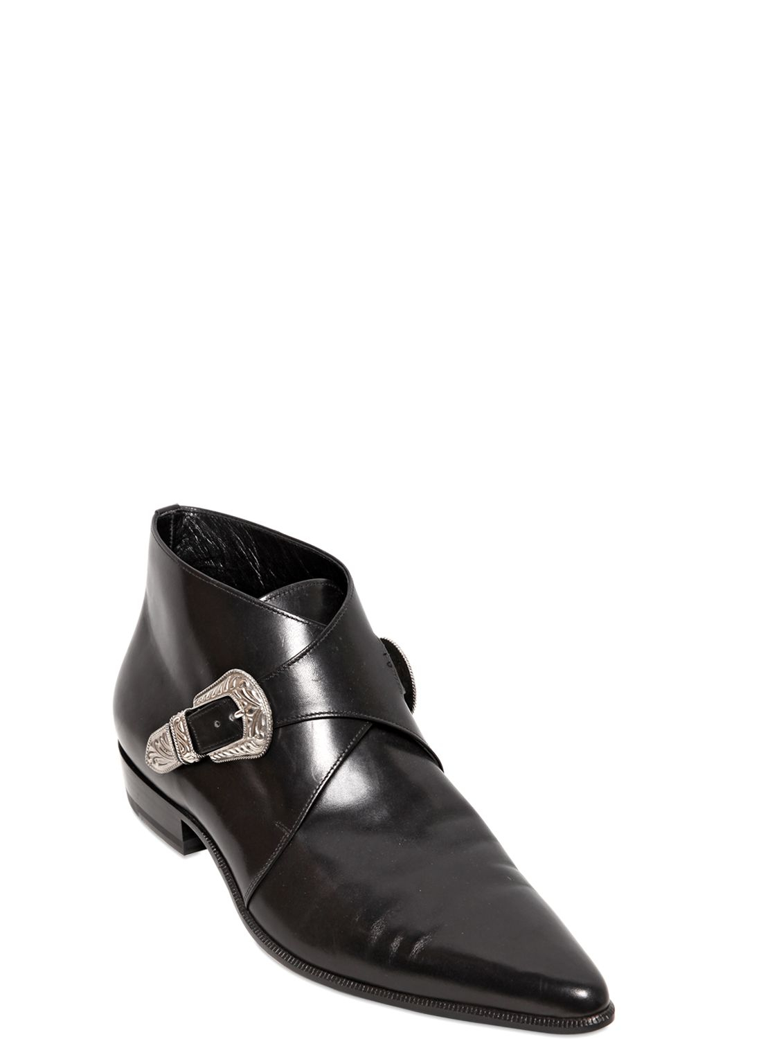Saint Laurent Western Two Buckle Leather Ankle Boots In