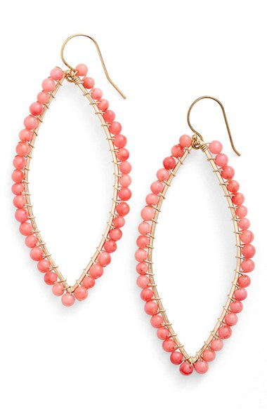 ki ele drop earrings coral in pink lyst