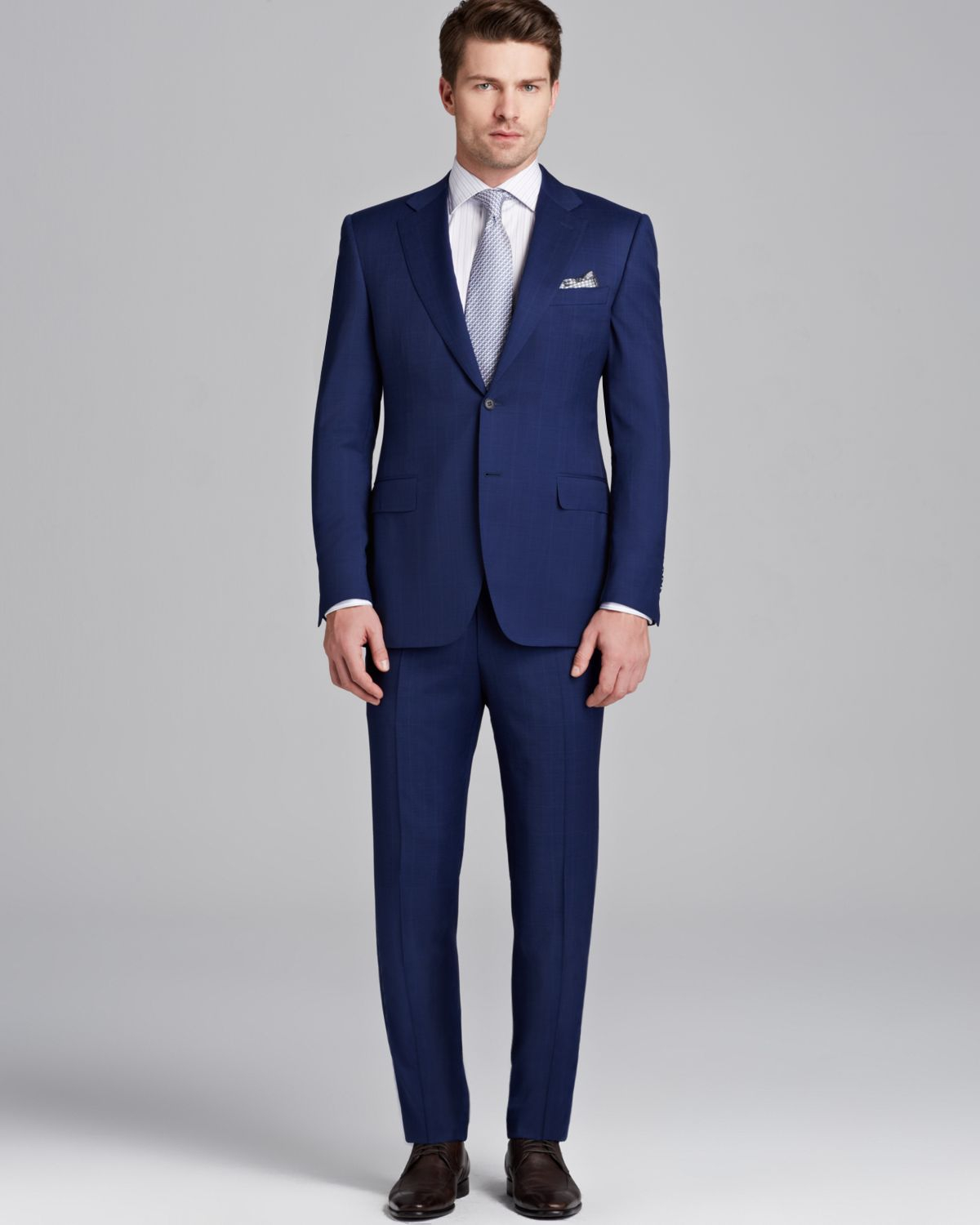 Canali Siena Windowpane Check Suit Classic Fit in Blue for Men | Lyst