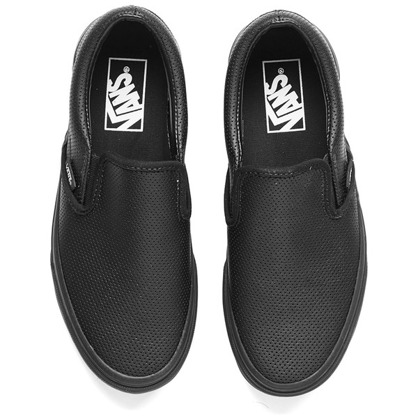 womens vans black leather slip on