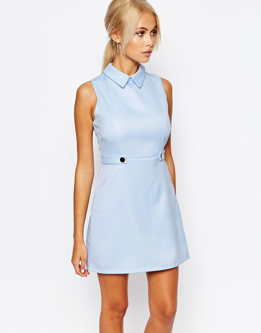 Fashion Union Aline Shift Dress With Collar In Blue Lyst