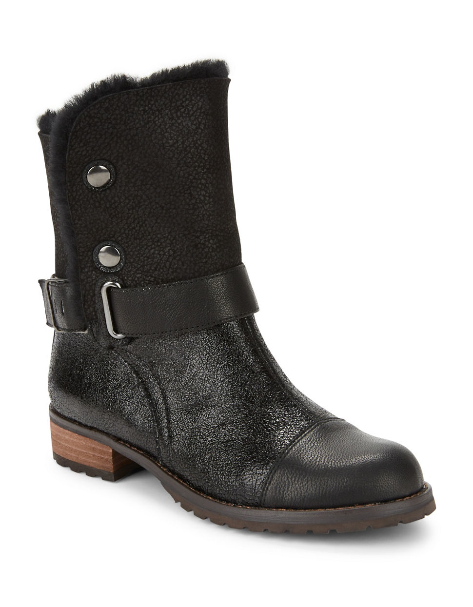 matt bernson tundra shearling lined ankle boots in black