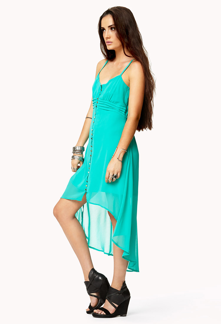 forever 21 buttoned highlow dress in blue lyst