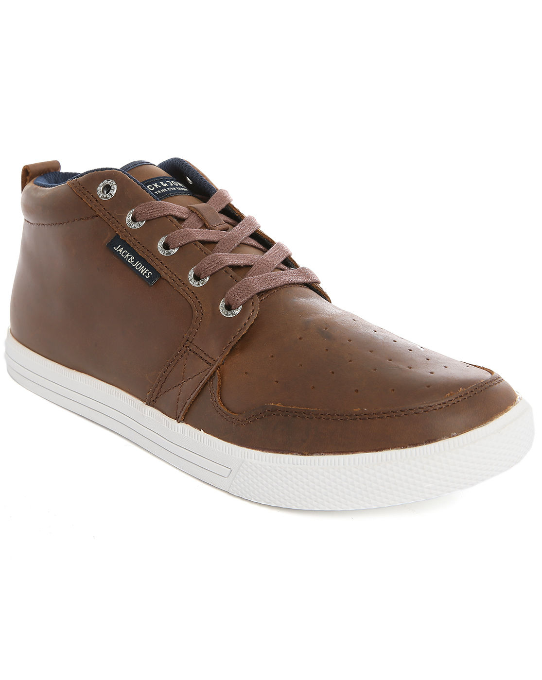 jack jones jjjuno dark brown leather sneakers in brown for men. Black Bedroom Furniture Sets. Home Design Ideas