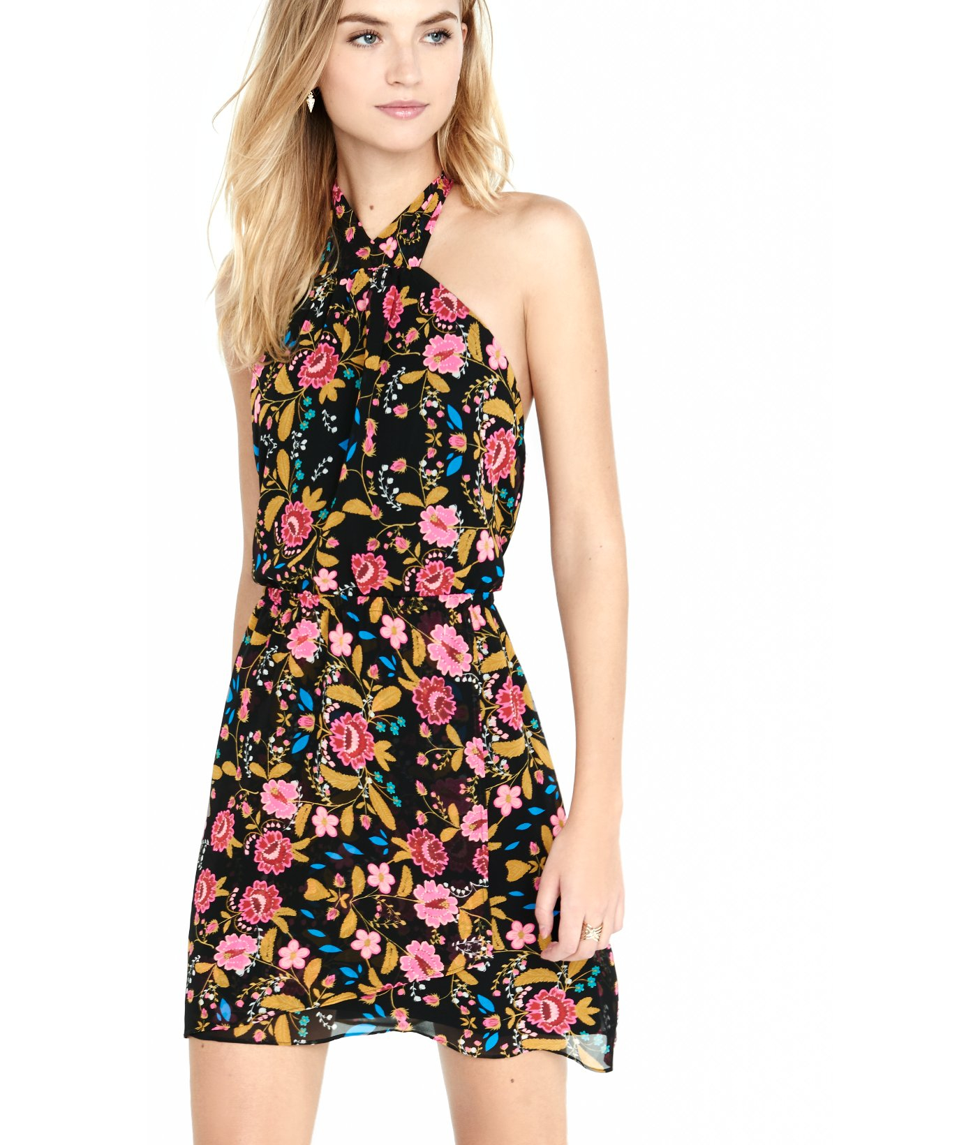 871637fc Express Floral Print Chiffon Tie-neck Halter Dress in Black - Lyst