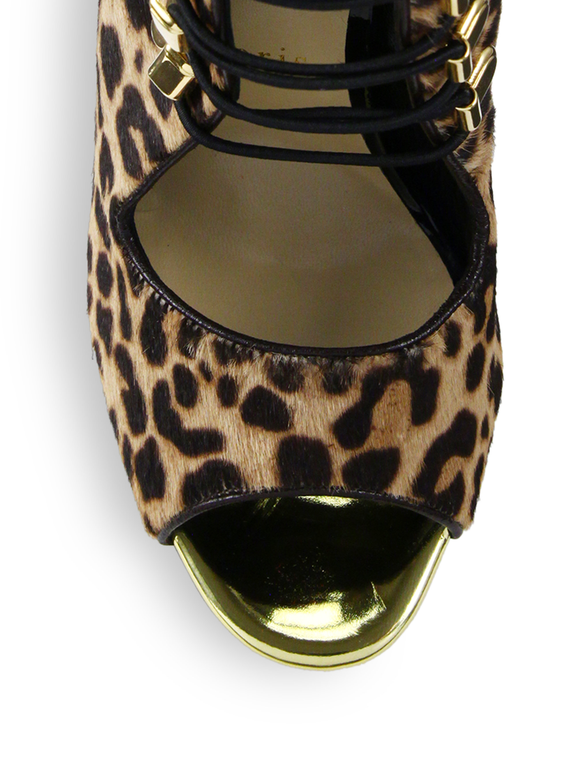 christian louboutin ponyhair leopard print wedges