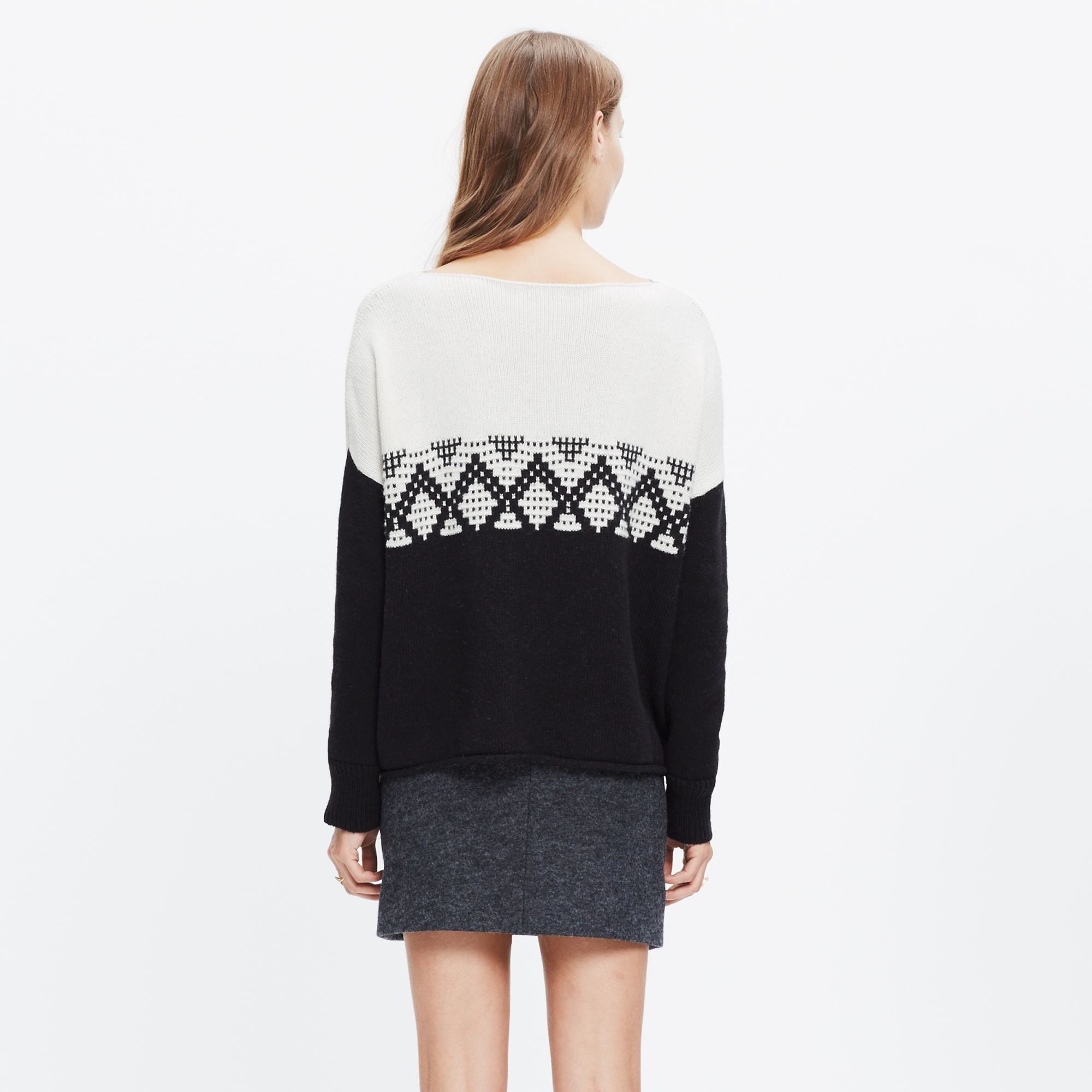Madewell Contrast Fair Isle Pullover Sweater in Black | Lyst