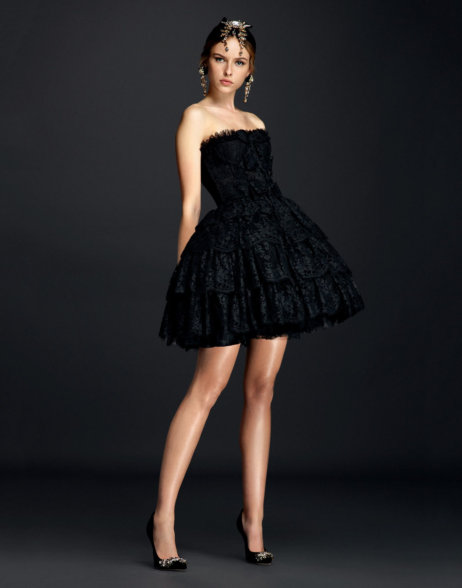 Dolce Amp Gabbana Ballerina Dress In Lace And Tulle In Black