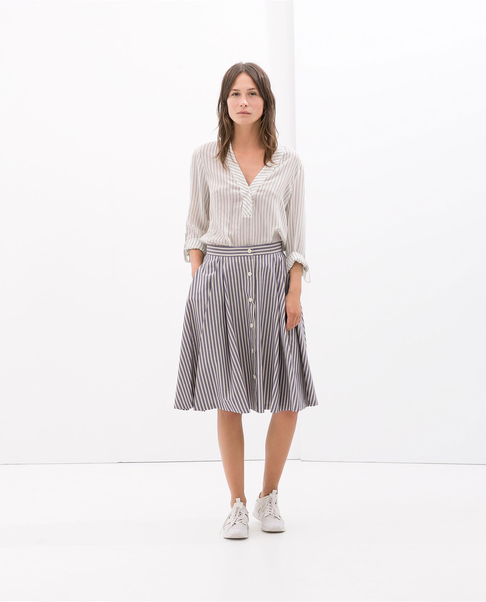 zara striped skirt in lyst