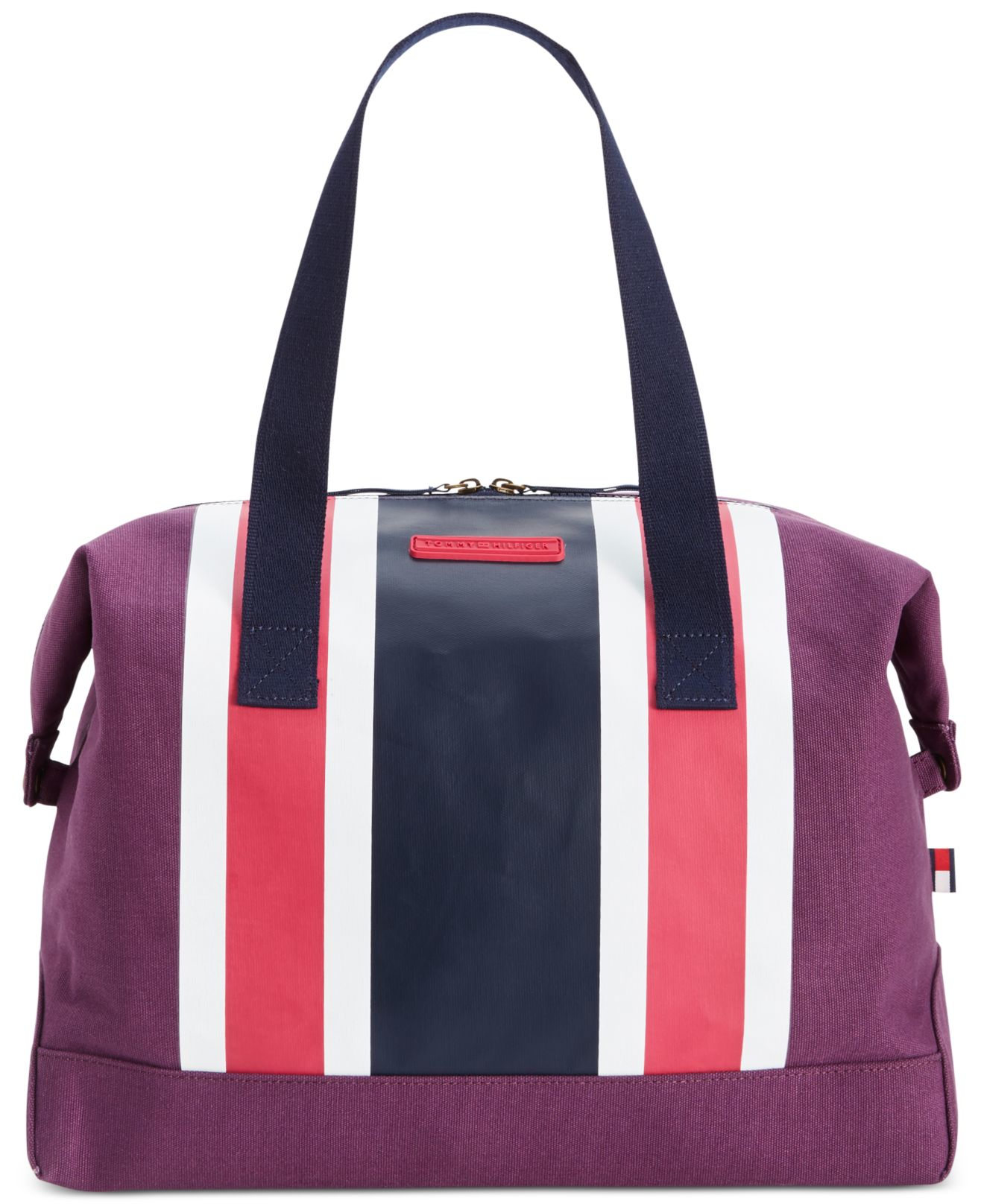 tommy hilfiger th stripes printed canvas large weekender in pink beaujolais pink navy save. Black Bedroom Furniture Sets. Home Design Ideas