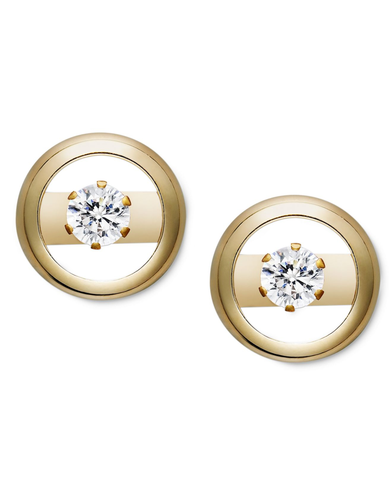 Macy S 14k Gold Earrings Cubic Zirconia Accent Circle Studs In