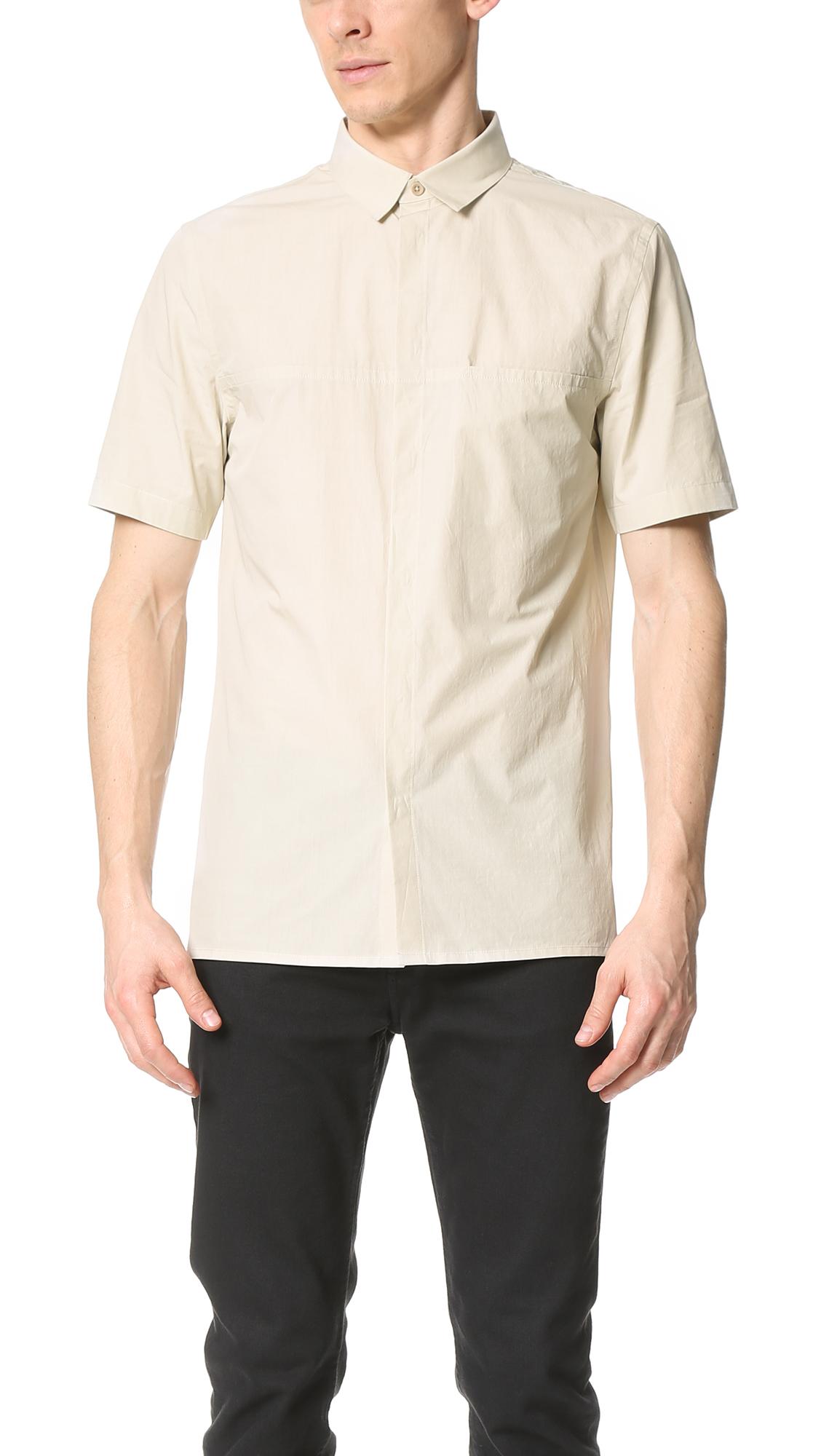 helmut lang whisper short sleeve shirt in natural for men. Black Bedroom Furniture Sets. Home Design Ideas