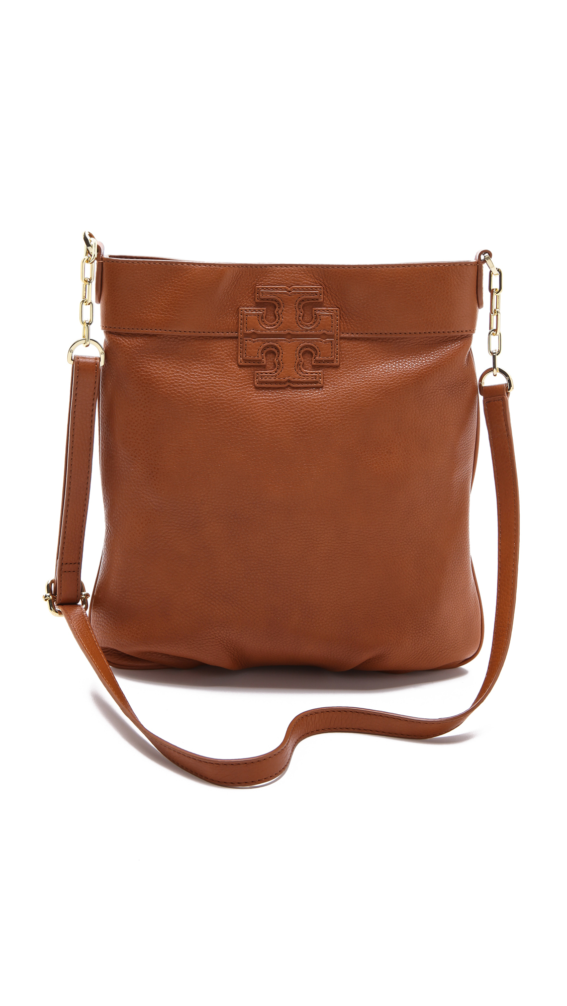 Tory Burch Stacked T Book Bag In Brown Vachetta Lyst