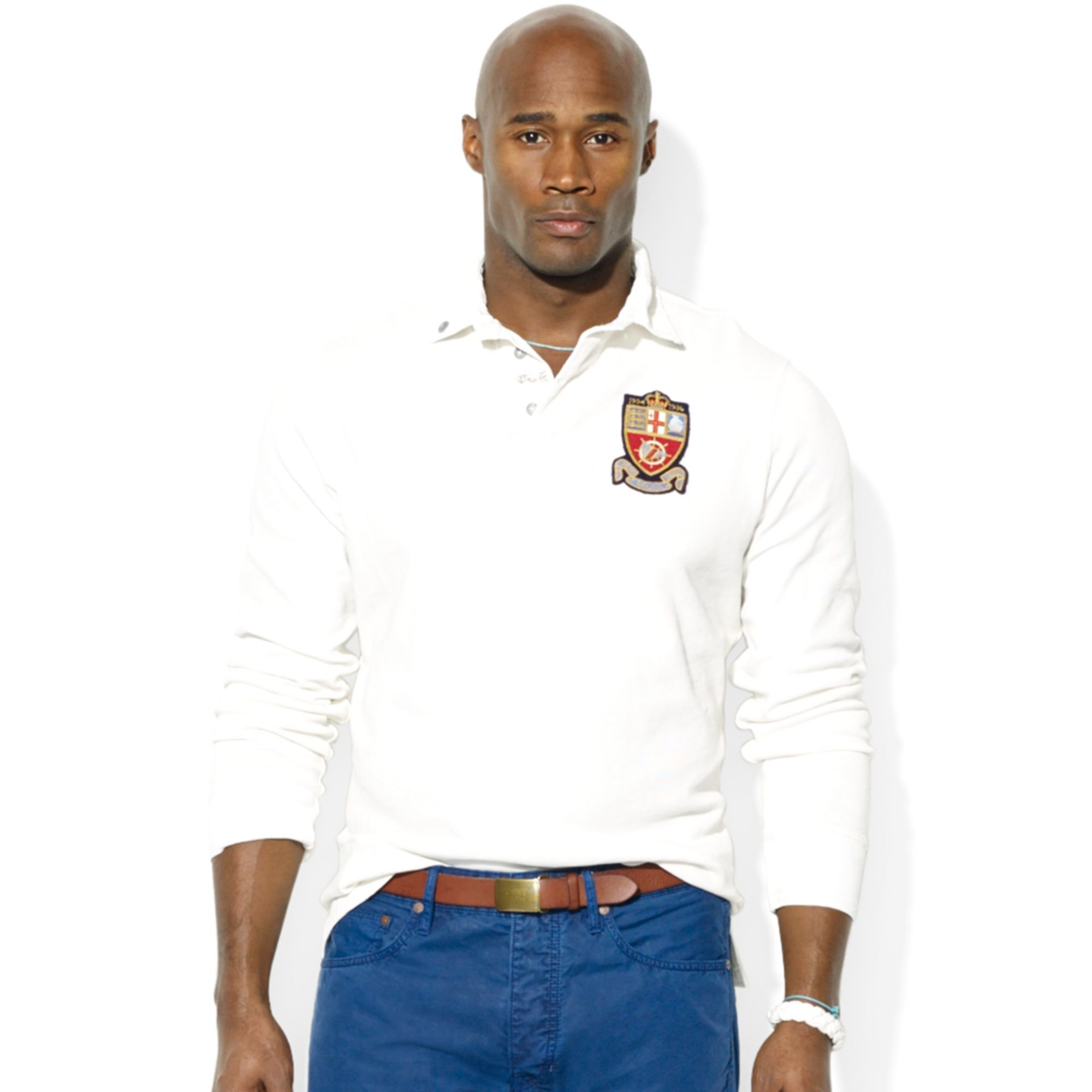 Ralph lauren polo big and tall rugby sweatshirt in white for Big and tall polo rugby shirts