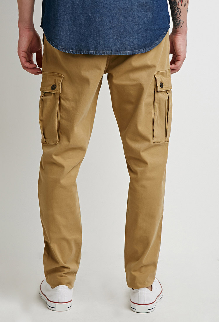 Forever 21 Twill Drawstring Cargo Pants in Natural for Men | Lyst