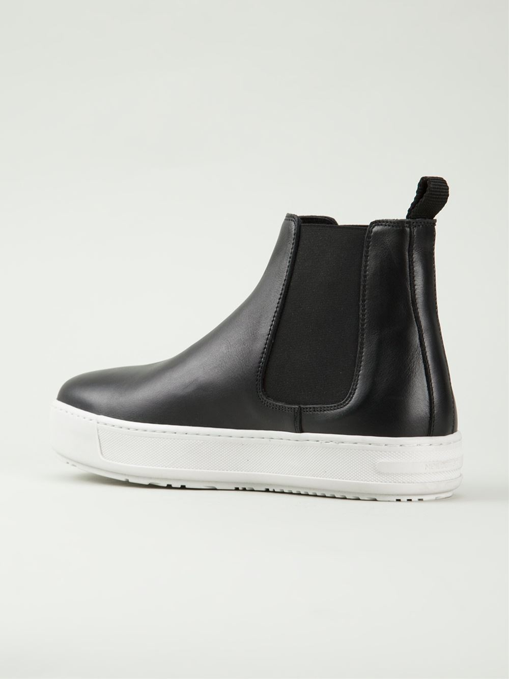 lyst neil barrett sneaker leather chelsea boots in black. Black Bedroom Furniture Sets. Home Design Ideas