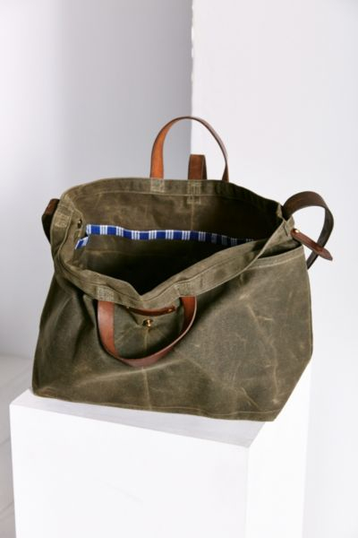 f378542a8276 Lyst - Urban Renewal Peg And Awl Large Waxed Canvas Tote Bag in Green