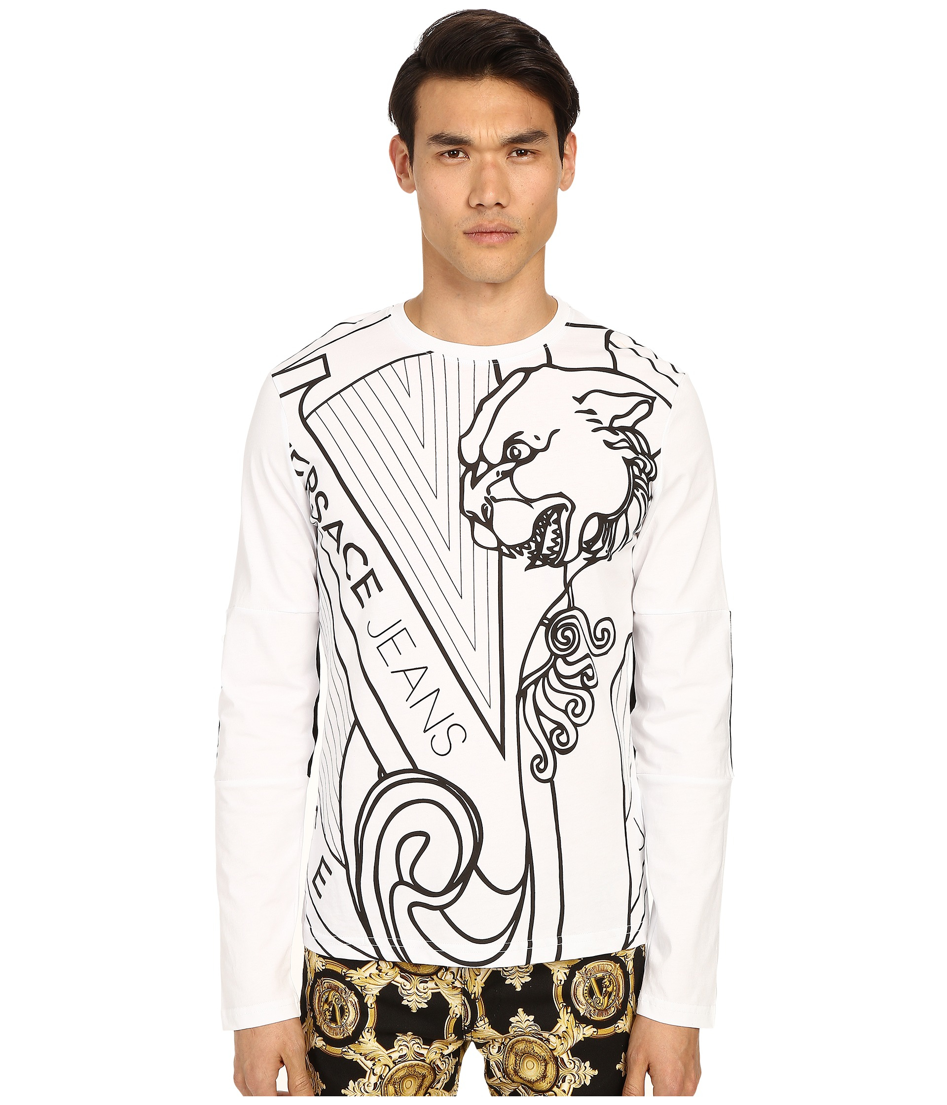 bbc950f72cb00 Lyst - Versace Jeans Big Tiger Logo Long Sleeve T-shirt in Gray for Men