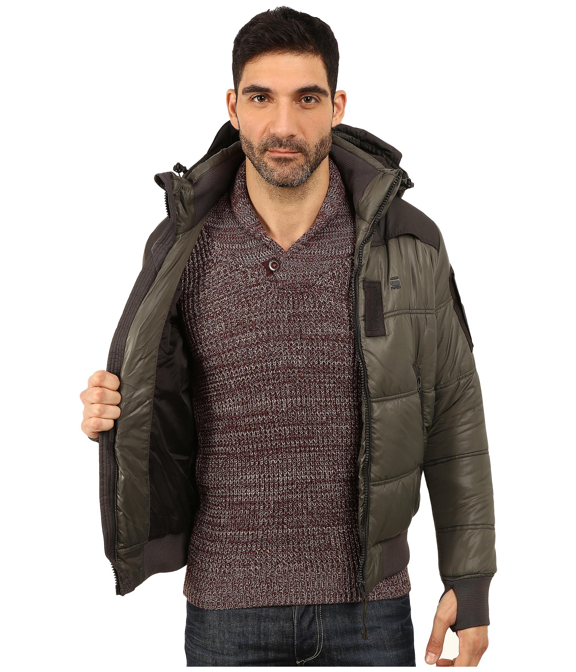 g star raw whistler hooded bomber jacket in gray for men. Black Bedroom Furniture Sets. Home Design Ideas