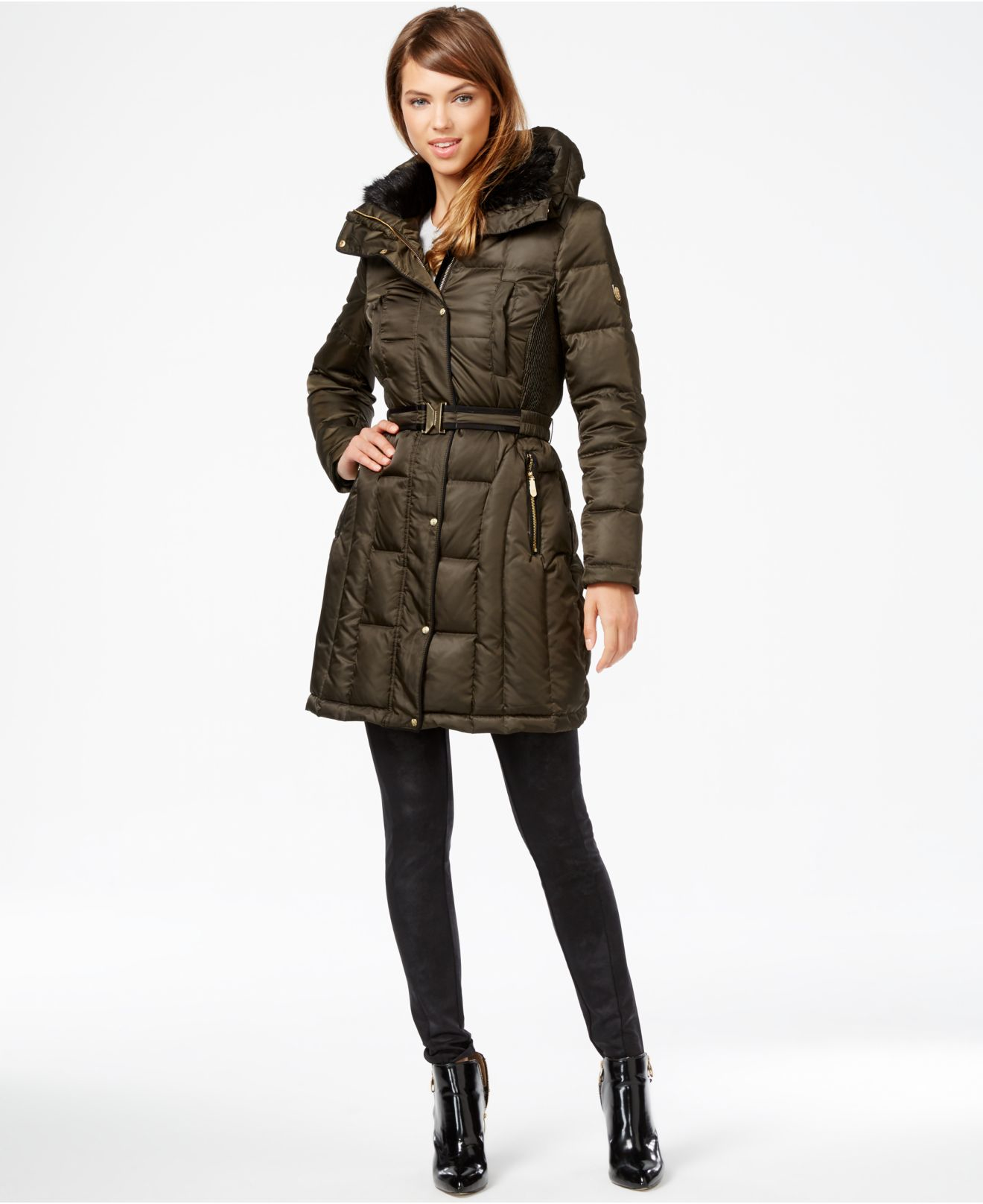 Vince Camuto Faux Fur Lined Quilted Puffer Coat In Green