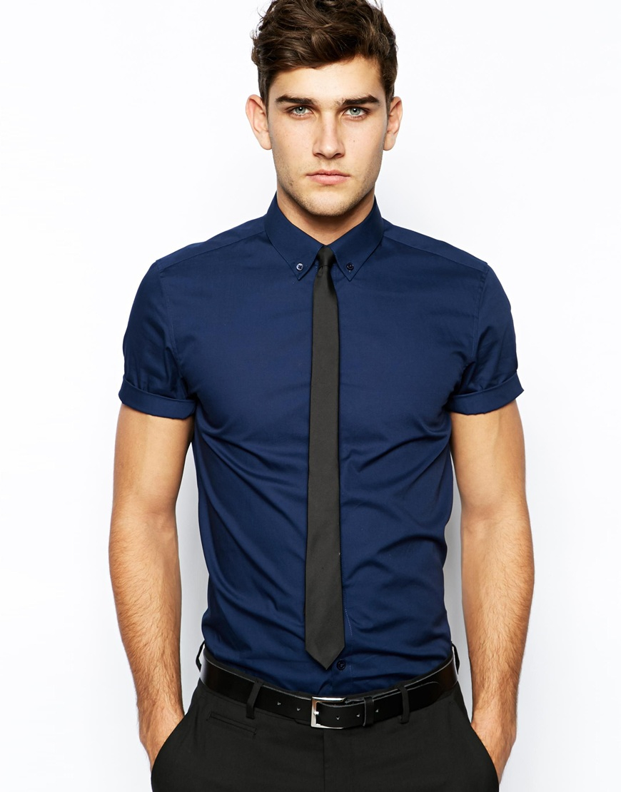 Lyst asos smart shirt in short sleeve with button down for Mens short sleve dress shirts