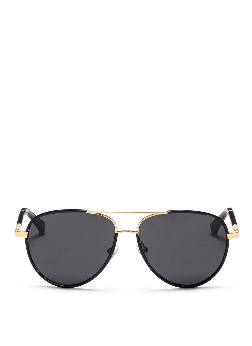 3e53e5a2118d Black Aviator Sunglasses With Gold Trim