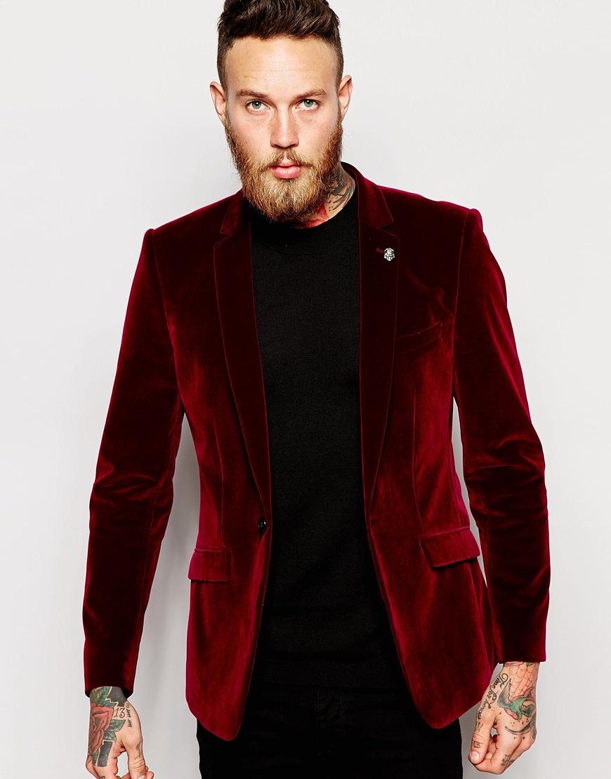 Lyst Asos Skinny Blazer In Velvet In Purple For Men