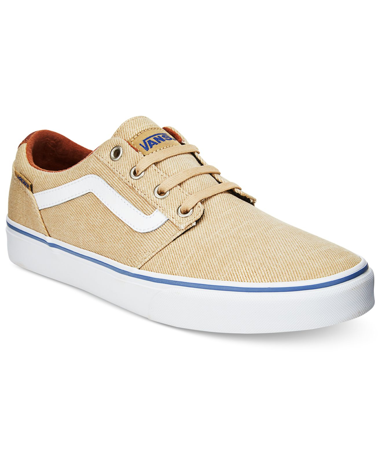 vans men 39 s chapman stripe low top sneakers in natural for men khaki save 10 lyst. Black Bedroom Furniture Sets. Home Design Ideas