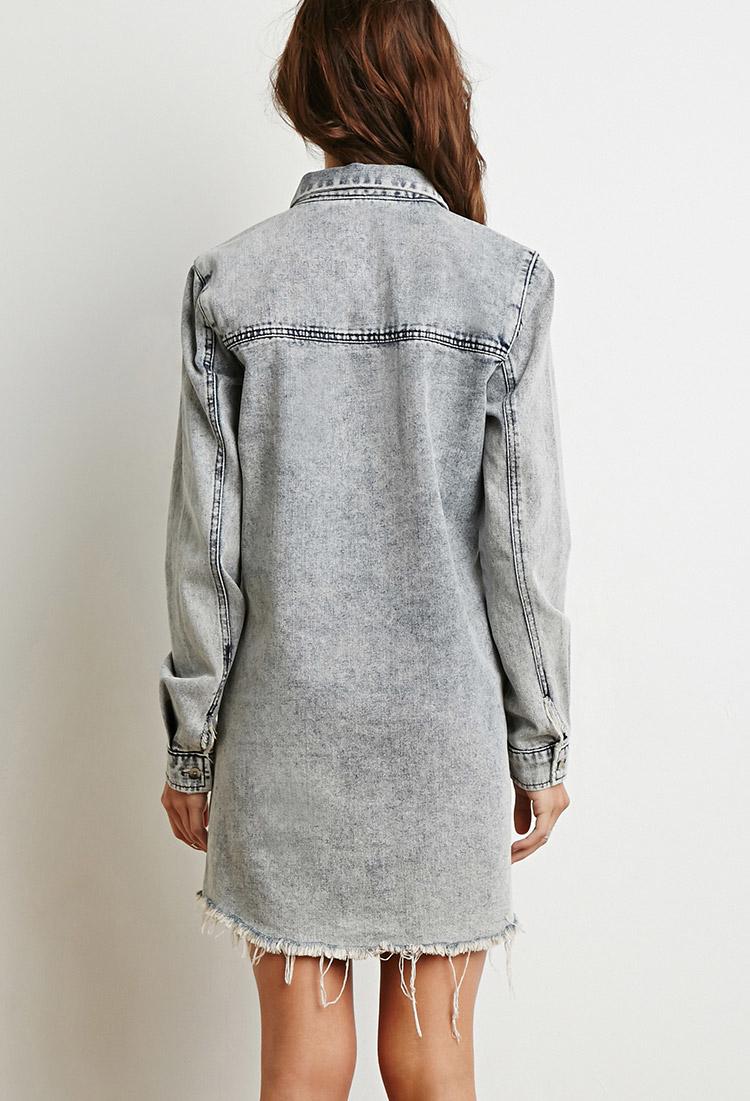 f452078dc12 Lyst - Forever 21 Mineral Wash Denim Shirt Dress in Blue