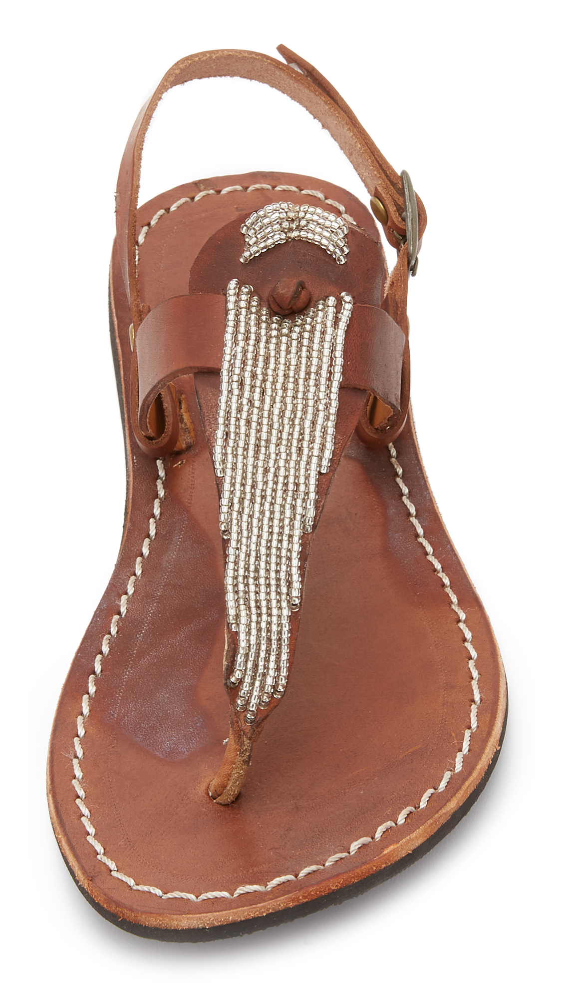 Lyst Laidbacklondon Lucas Beaded Thong Sandals In Brown