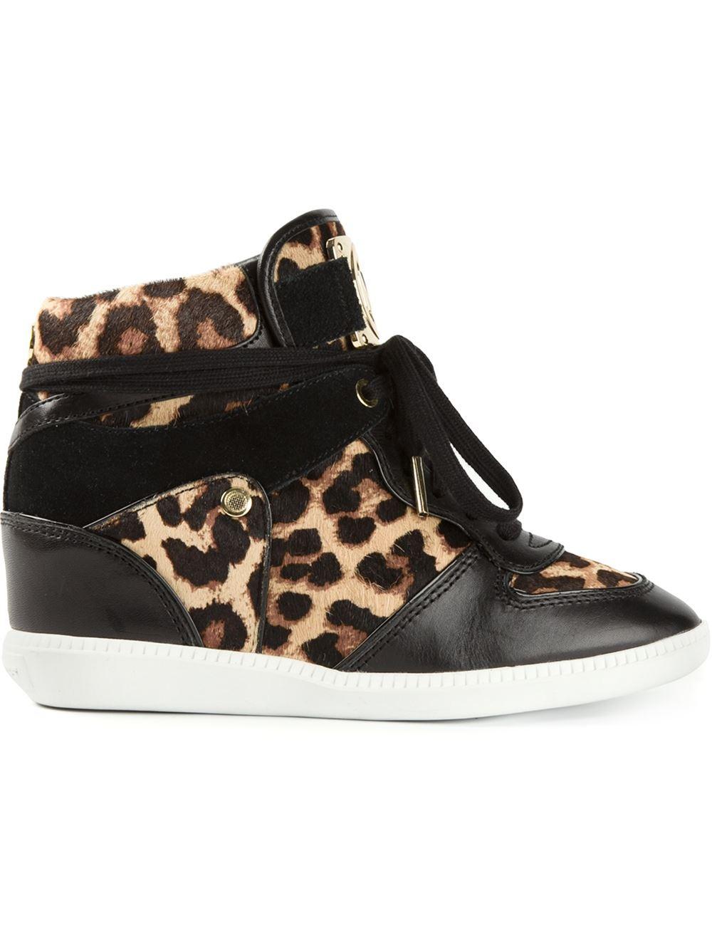 72bb4b8996c Lyst - MICHAEL Michael Kors Leopard Print Concealed Wedge Sneakers ...