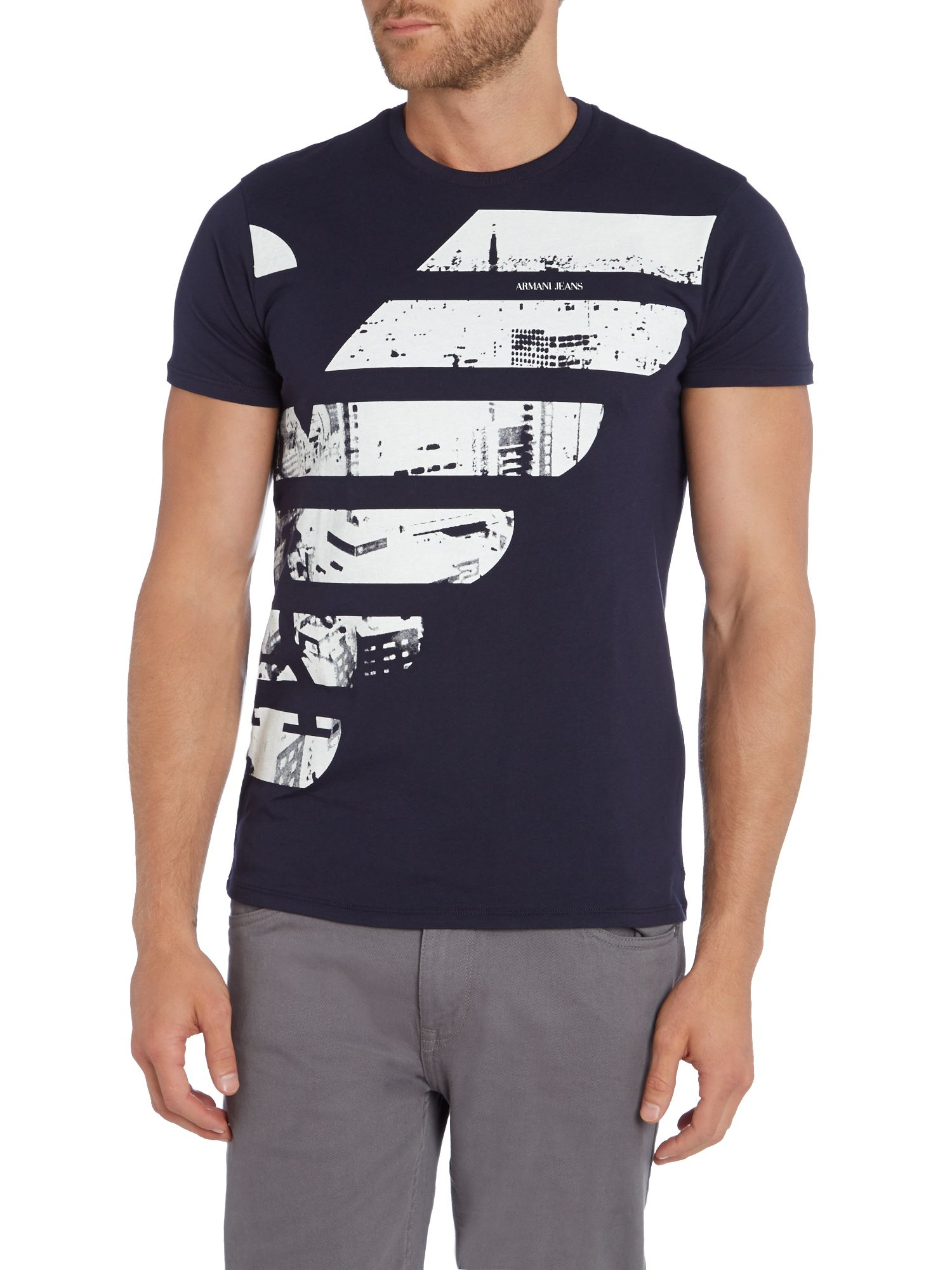 armani jeans slim fit half eagle logo printed t shirt in blue for men lyst. Black Bedroom Furniture Sets. Home Design Ideas