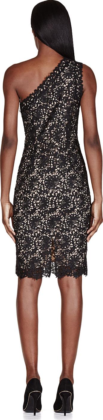 Lyst Stella Mccartney Black One Shoulder Lace Dress In Black
