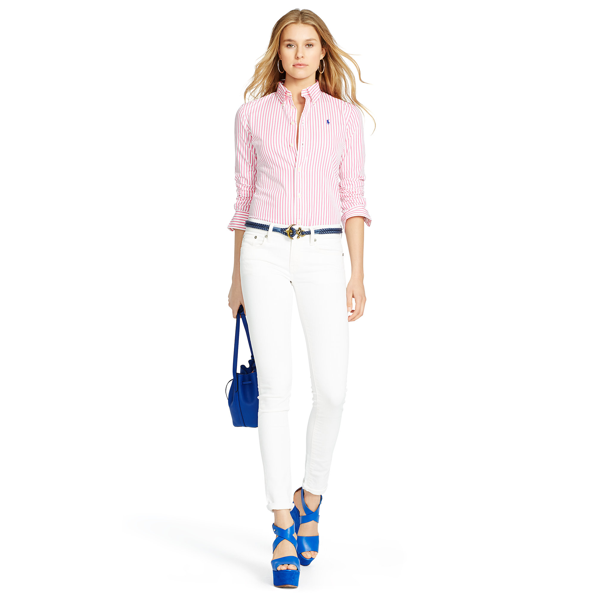 4ee4019a92e Lyst - Polo Ralph Lauren Custom-fit Striped Shirt in Pink