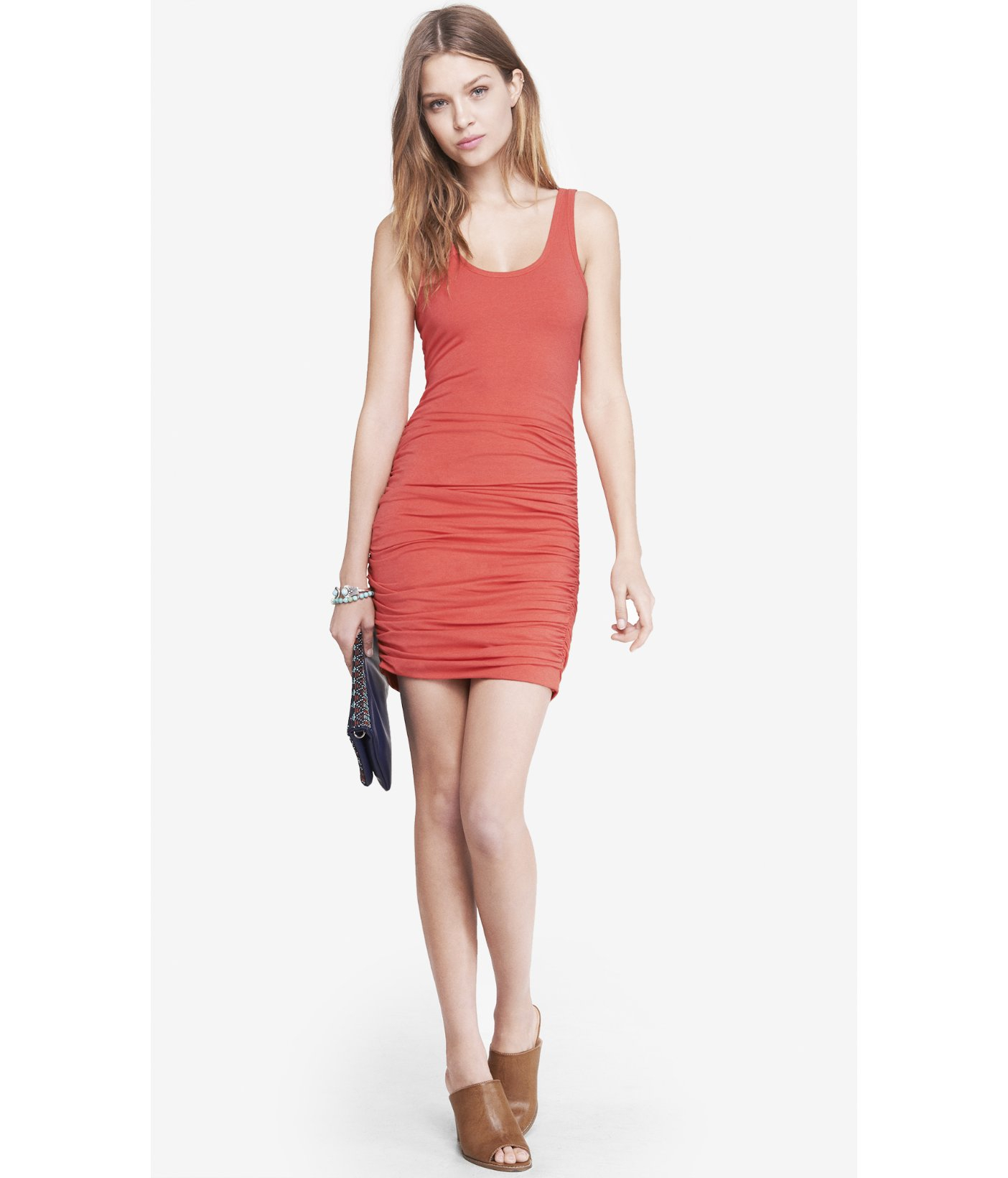 fa27ab304b Express Coral Ruched Tank Dress in Orange - Lyst