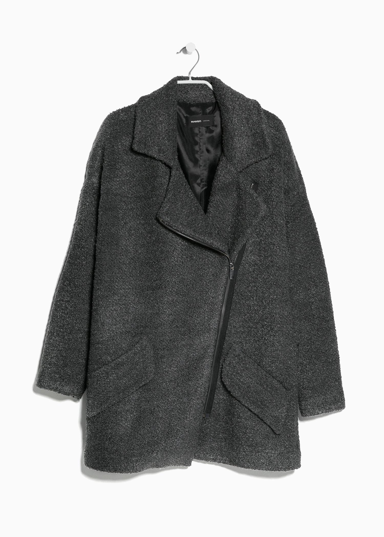 Mango Tweed Oversize Coat in Gray | Lyst